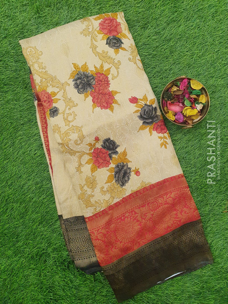 Semi silk saree beige and black with rich zari weaving and all over prints