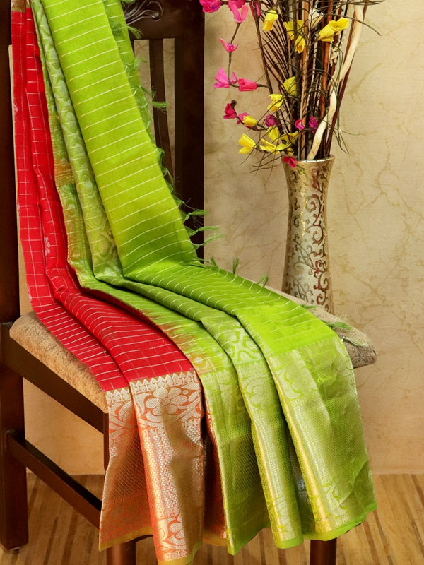 Kuppadam Silk Cotton Saree red and green with checked zari pattern and rich zari woven border