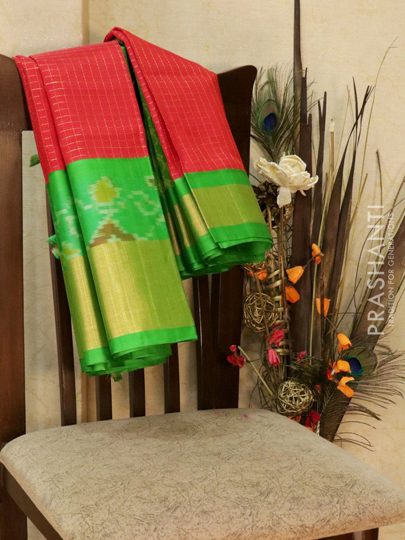 Kuppadam Silk Cotton Saree red and green with checked zari pattern and ikkat border
