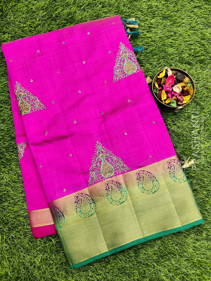 Semi Tussar Saree pink and green with embroidery and zari border
