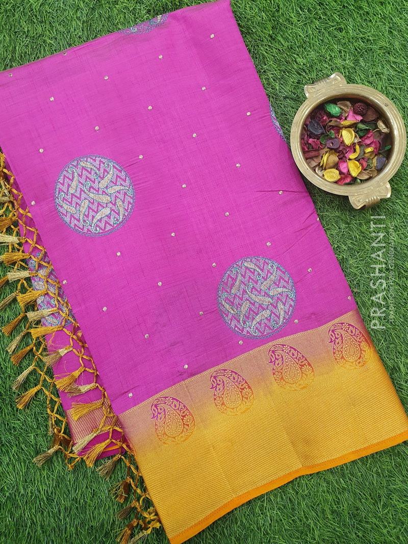 Semi Tussar Saree pink and yellow with embroidery and zari border