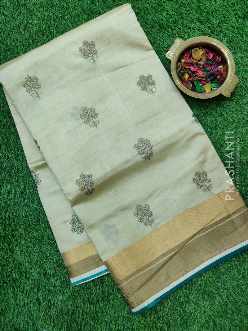 Semi Tussar Saree beige and green with embroidery and zari border