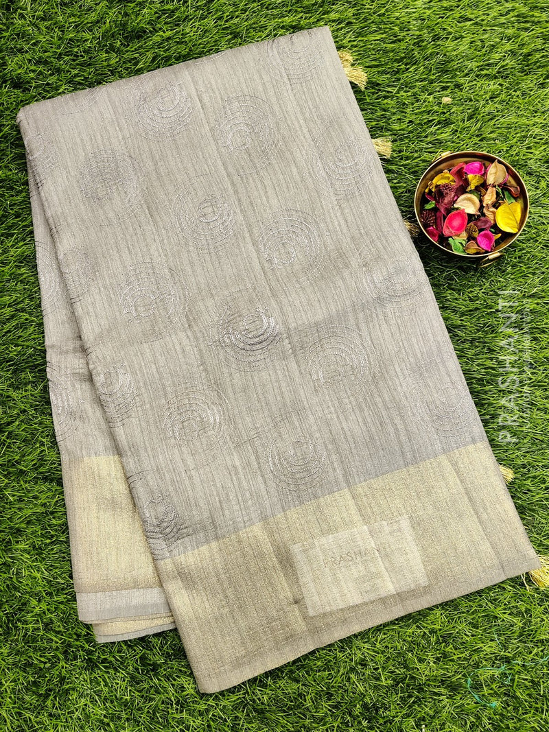 Semi Tussar Saree grey with embroidery and zari border with jute finish