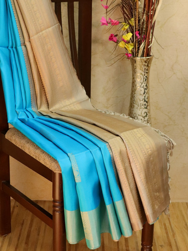 Pure Soft silk saree sky blue and beige with box buttas and plain border