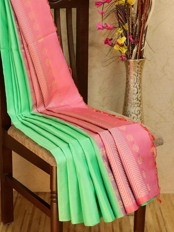 Pure Soft silk saree teal and pink with gold and silver zari buttas in borderless style