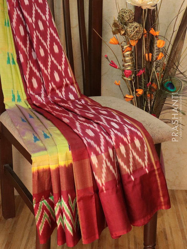 Pochampally silk saree dual shade of green and maroon with ikkat weaves and kaddi zari border