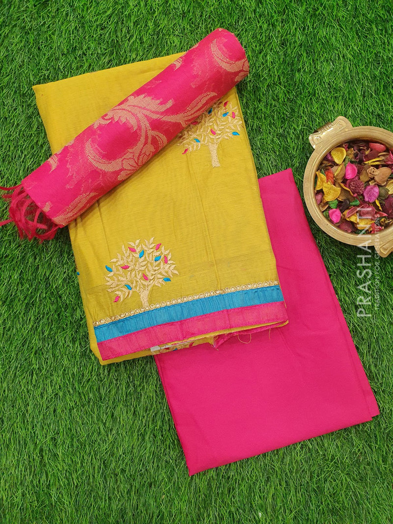 Chanderi Dress Material green and pink with thread embose top and chanderi dupatta