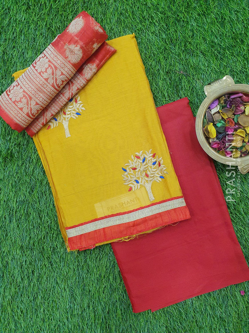 Chanderi Dress Material yellow and red with thread embose top and chanderi dupatta