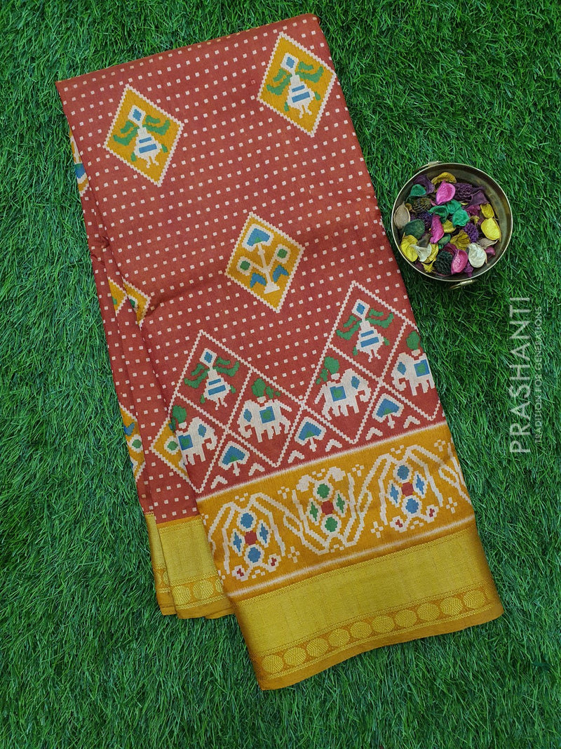 Semi Tussar saree rust and mustard with ikkat prints and zari woven border