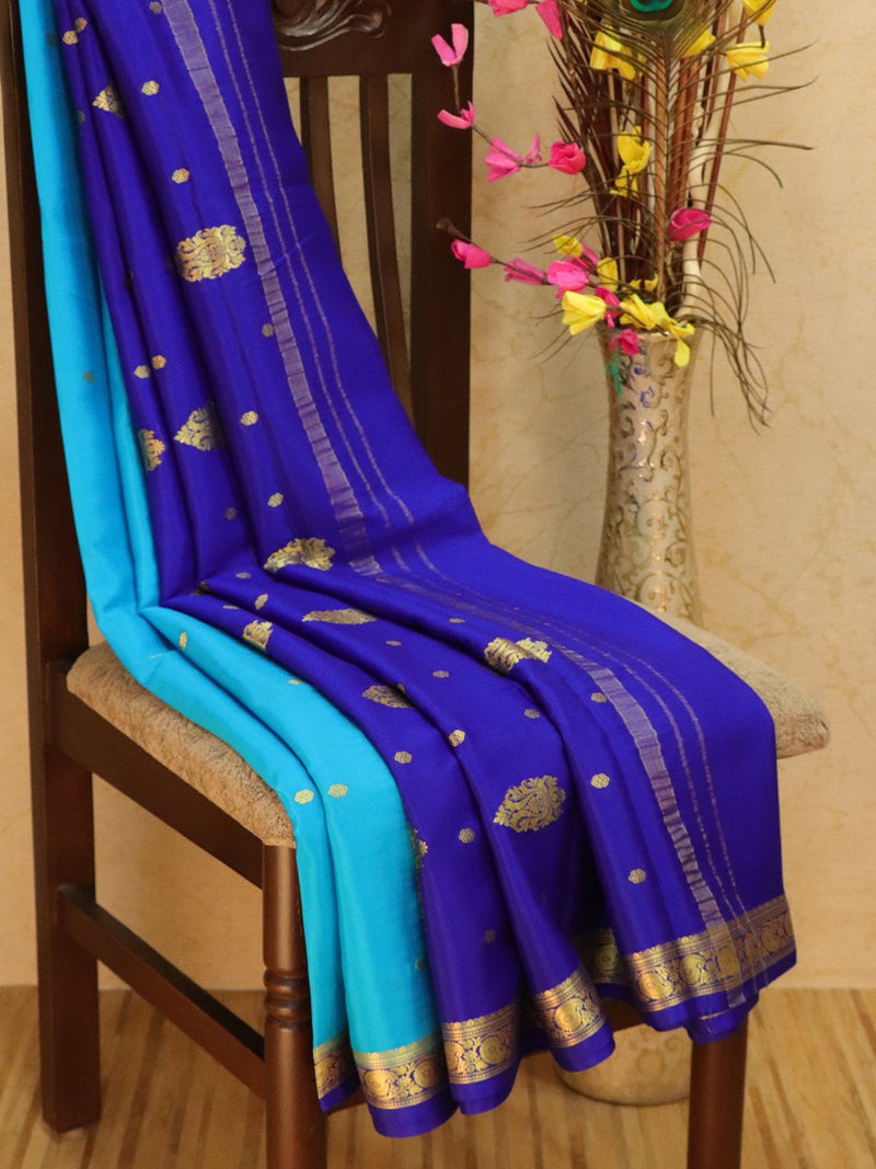 Pure Mysore Crepe silk saree sky blue and blue with zari buttas and rich border