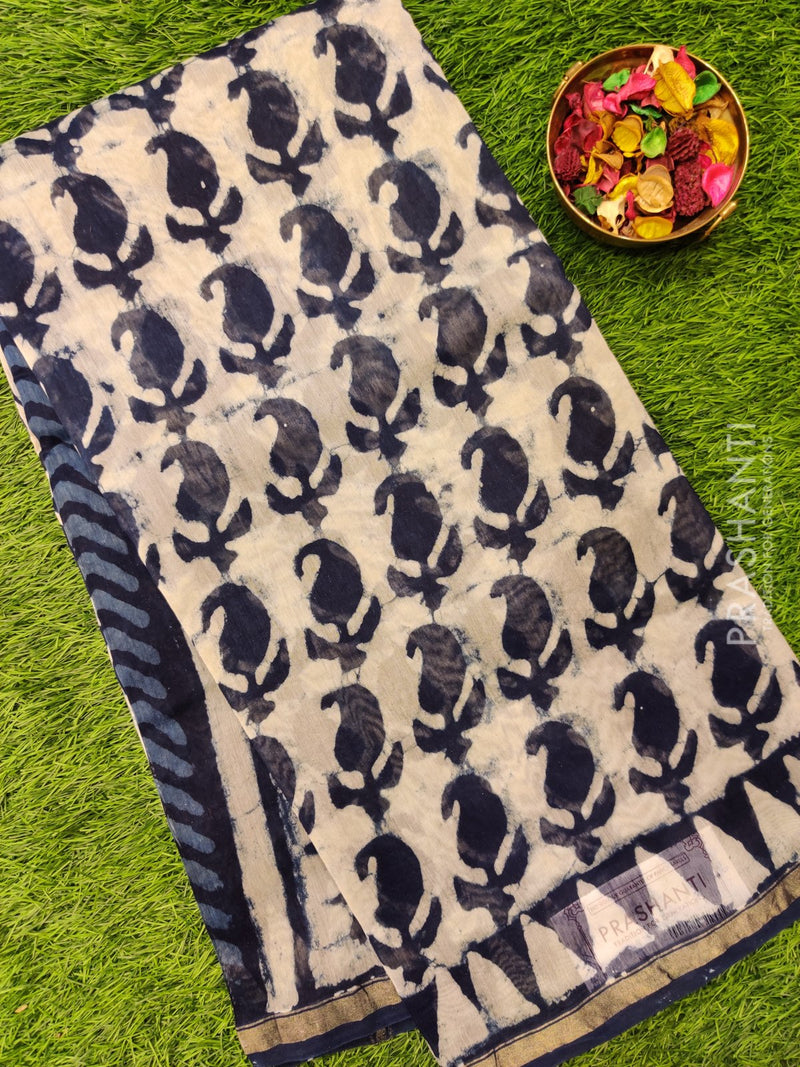 Chanderi Bagru Printed Saree indigo blue with batik prints and simple zari border