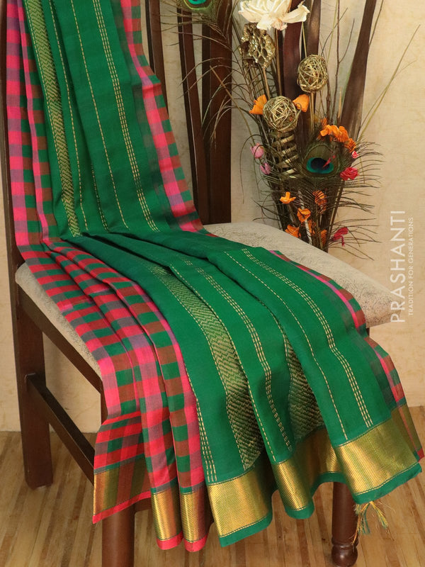 Silk Cotton saree pink and green with checked pattern and golden zari border