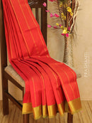 Silk Cotton saree red and green with zari woven lines and zari woven border