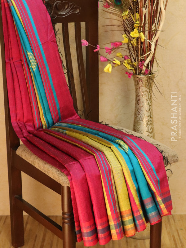 Dupion silk saree pink and blue with thread weaving and golden zari border