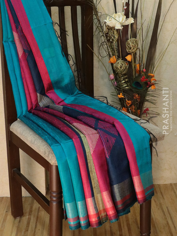 Dupion silk saree blue and navy blue with thread weaving and golden zari border