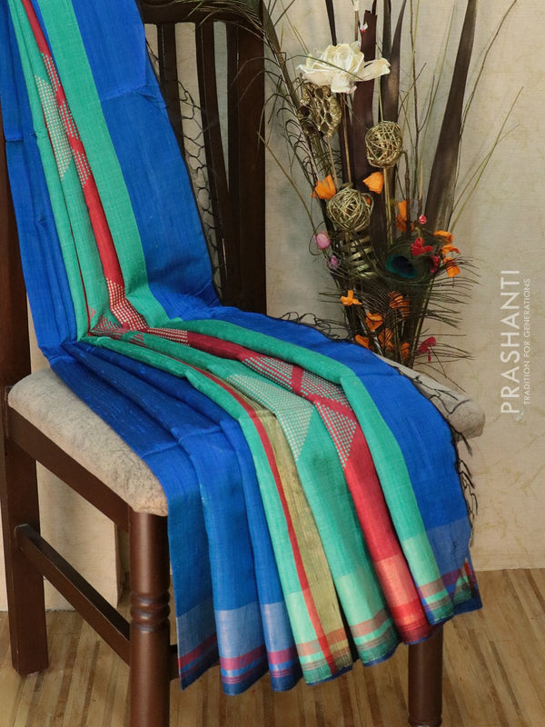 Dupion silk saree blue and redish pink with thread weaving and golden zari border