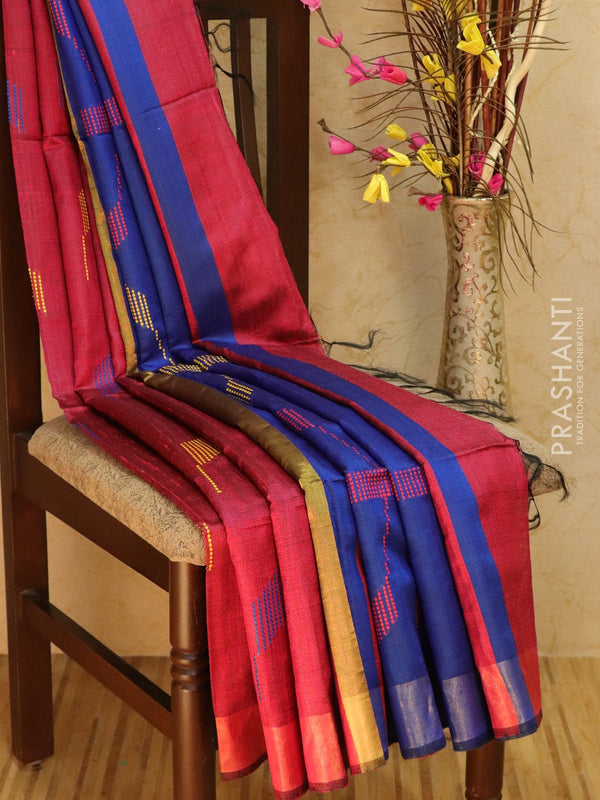 Dupion silk saree pink and navy blue with thread weaving and golden zari border
