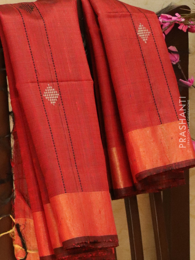 Dupion silk saree red with thread weaving and golden zari border