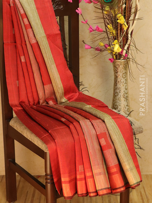 Dupion silk saree red and beige with thread weaving and golden zari border