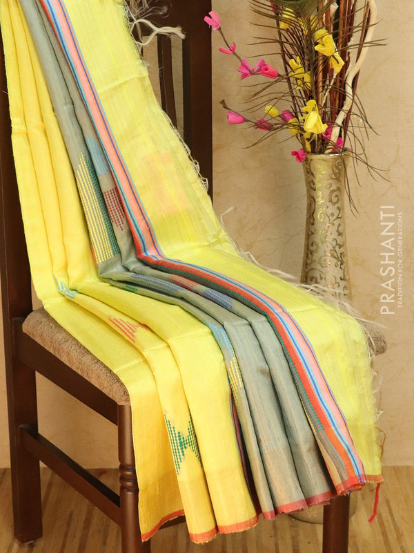 Dupion silk saree yellow and grey with thread weaving and golden zari border