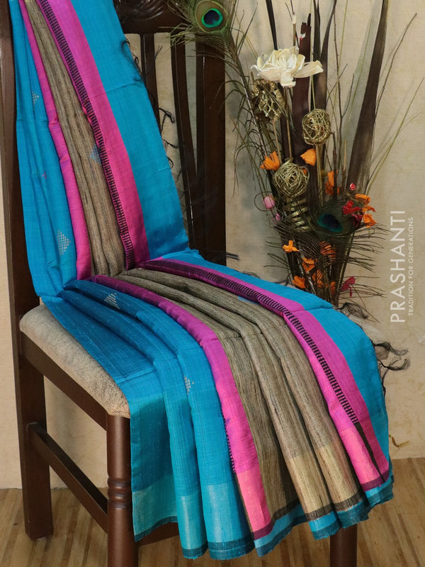 Dupion silk saree cs blue and pink with thread weaving and golden zari border