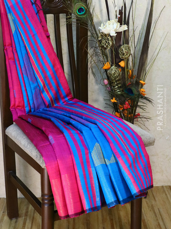 Dupion silk saree pink and cs blue with thread weaving and golden zari border