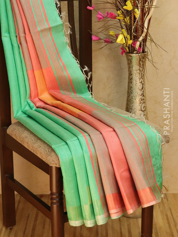 Dupion silk saree teal and pink with thread weaving and golden zari border