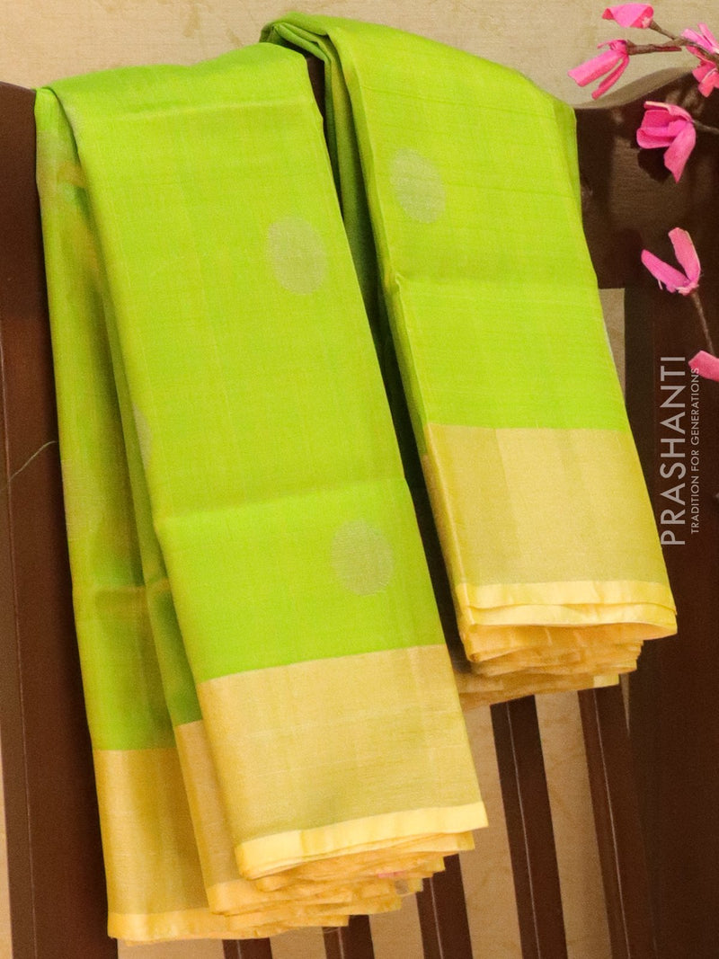 Pure Uppada silk saree green with silver zari coin buttas and border