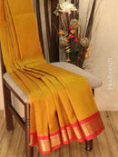Silk cotton saree mustard and red with zari woven korvai border