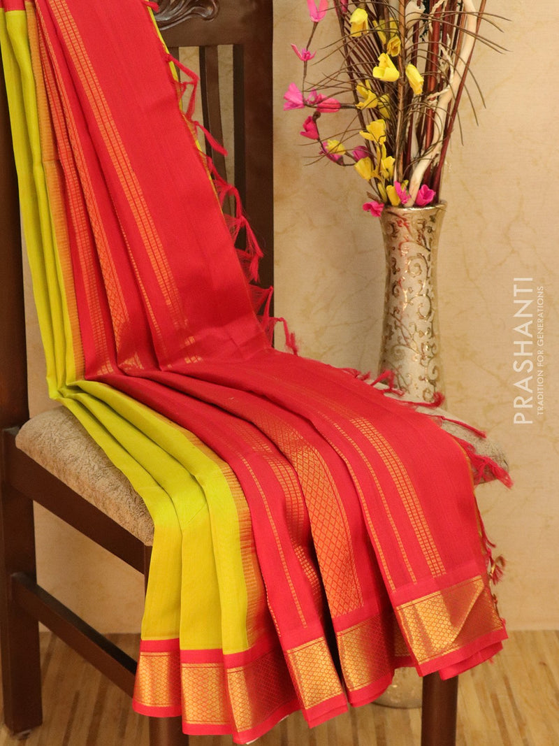 Silk cotton saree green and red with zari woven korvai border