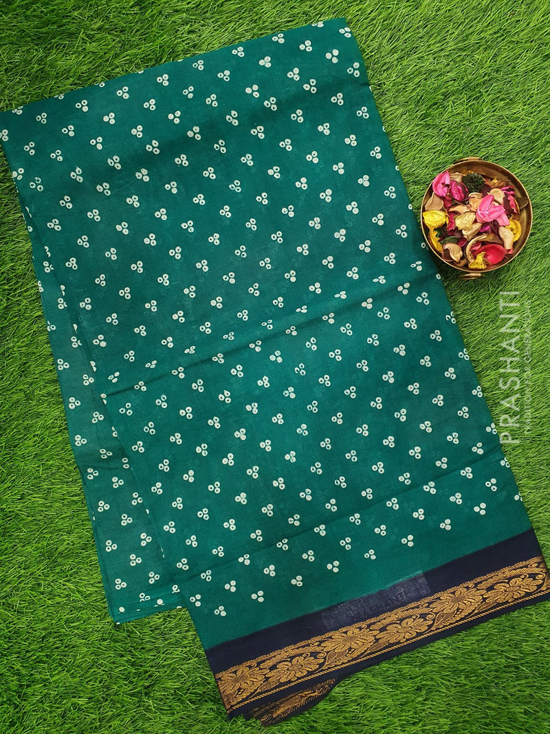 Sungudi cotton saree green and navy blue with all over prints and golden zari border