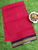 Sungudi cotton saree maroon and black with golden zari border