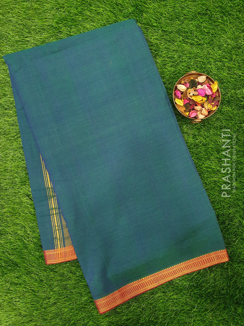 Mangalagiri cotton saree dual shade of peacock blue and maroon with golden zari border