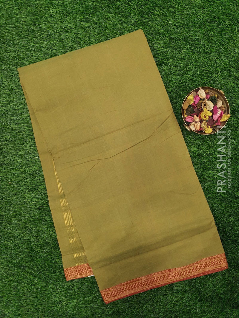 Mangalagiri cotton saree green and red with golden zari border
