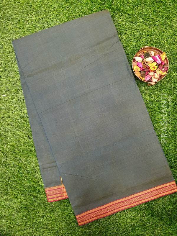 Mangalagiri cotton saree dual shade of blue and maroon with golden zari border