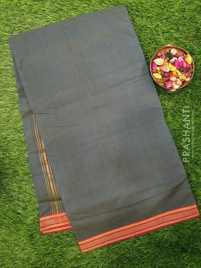 Mangalagiri cotton saree grey with golden zari border