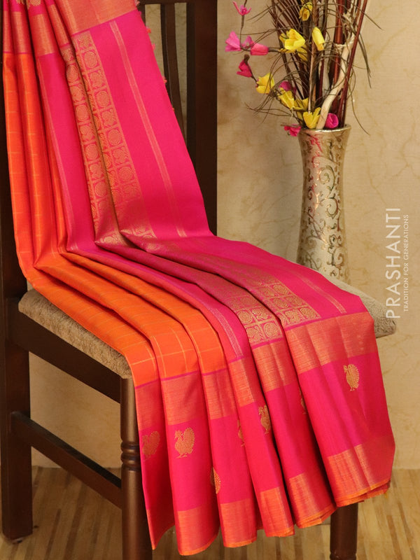 Pure Kanjivaram silk saree orange and pink with zari checks and golden zari rettapet butta woven border