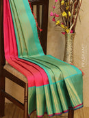 Pure Kanjivaram silk saree pink and teal with allover zari lines and rich zari woven border for Rs.Rs. 34000.00 | Silk Sarees by Prashanti Sarees
