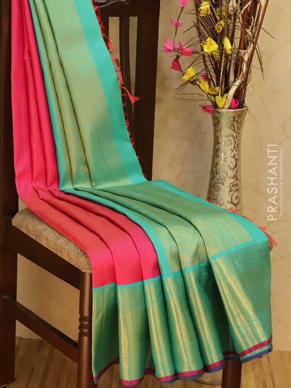Pure Kanjivaram silk saree pink and teal with allover zari lines and rich zari woven border
