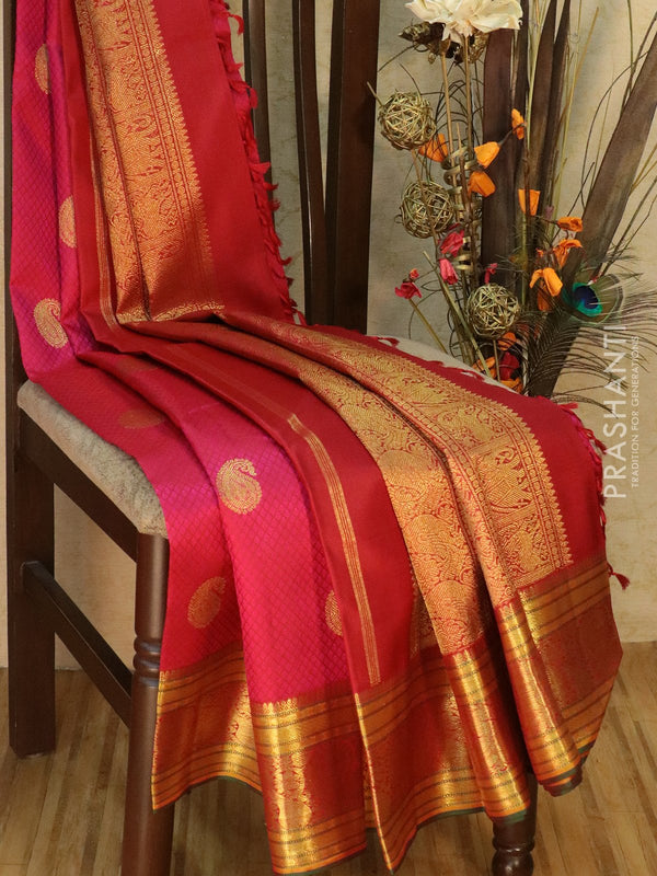 Pure Kanjivaram silk saree pink and green with paisley zari butta and golden zari border