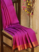 Pure Kanjivaram silk saree purple and green with zari checks and golden zari border