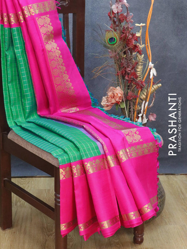 Pure Kanjivaram silk saree green and pink with checked zari pattern and rettapet zari border