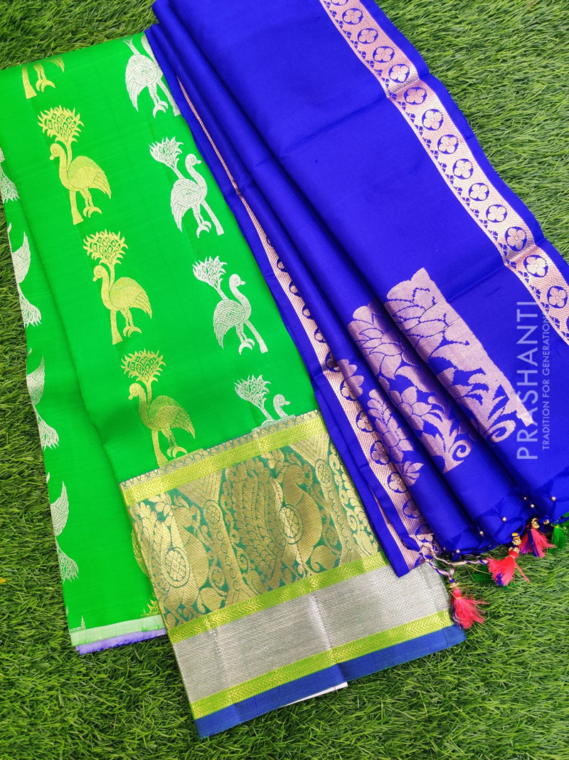 Pure Silk Half Saree green and violet with silver and golden zari butta and kanchi border