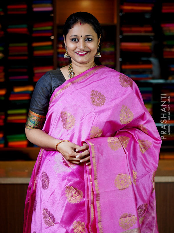 Semi Raw Silk Saree pink with antique zari buttas and temple zari border for Rs.Rs. 1150.00 | by Prashanti Sarees