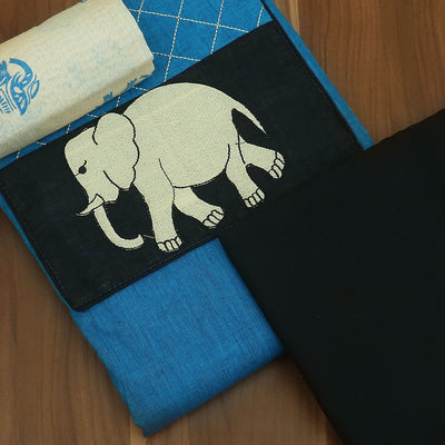 Dress Material - Blue and black with elephant design and dupatta