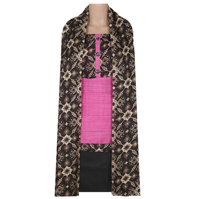 Dress Material - Pink and black Ikkat design top and dupatta