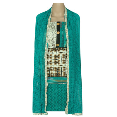 Dress Material - Beige and Green cotton top with chiffon dupatta