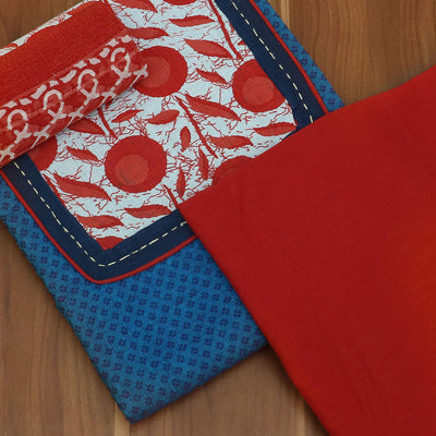Dress Material - Blue and Red cotton top and chiffon dupatta