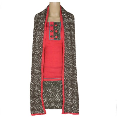 Dress Material - Pink and Grey with cotton dupatta