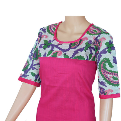 Raw Silk Kurta Pink with floral design